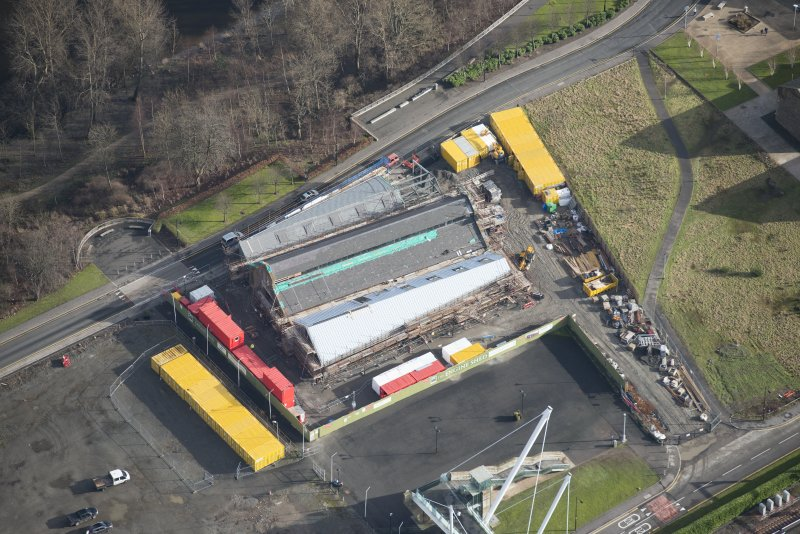 Oblique aerial view of The Engine Shed, Stirling, under construction, looking E.