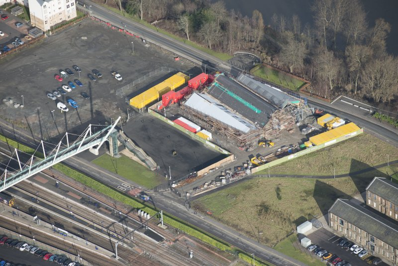 Oblique aerial view of The Engine Shed under construction, looking NNE.