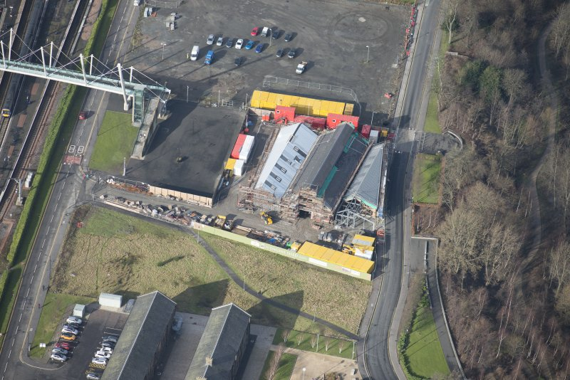 Oblique aerial view of The Engine Shed under construction, looking NNW.