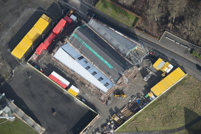 Oblique aerial view of The Engine Shed under construction, looking NE.
