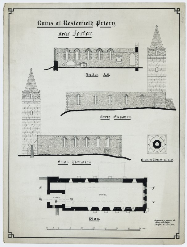 Plan, elevations and section.