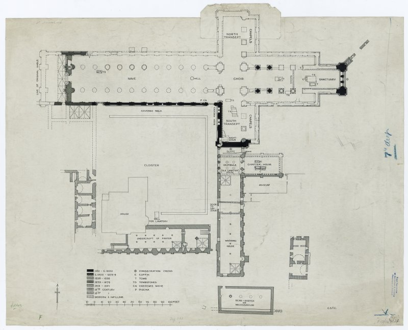 Photograph of drawing showing plan of building periods of Cathedral and Priory.
