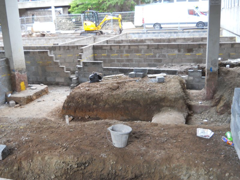 View of the ground reduction to the north of the tower, illustration 8 from final report from archaeological evaluation at Edinburgh Napier University, Merchiston Campus