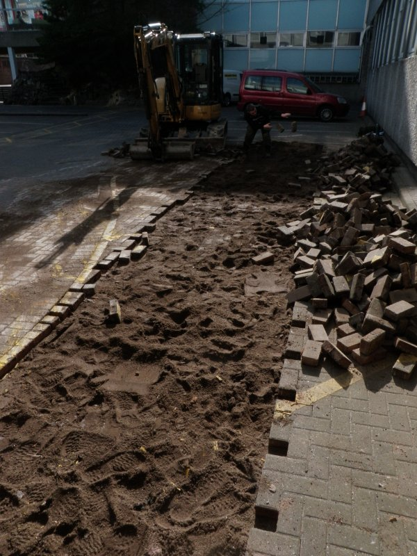 Trench 1 - cobbles removed, photograph from archaeological evaluation at Edinburgh Napier University, Merchiston Campus