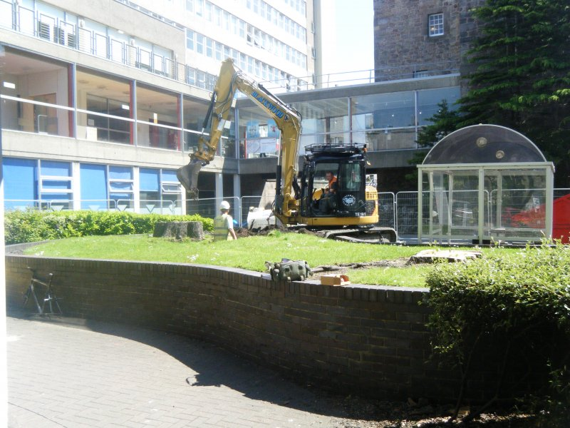 General view of raised garden area, photograph from archaeological evaluation at Edinburgh Napier University, Merchiston Campus