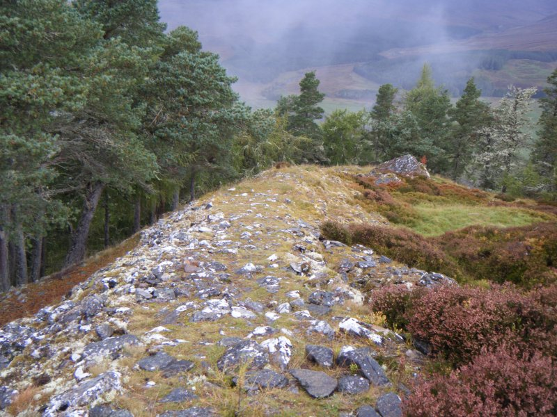 View along west rampart, photograph of Dun da Lamh, from a topographic archaeological survey at five Pictish Forts in the Highlands