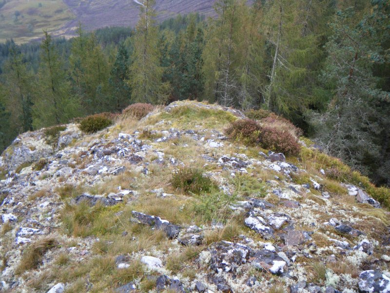 View towards natural spur at south corner of fort, photograph of Dun da Lamh, from a topographic archaeological survey at five Pictish Forts in the Highlands