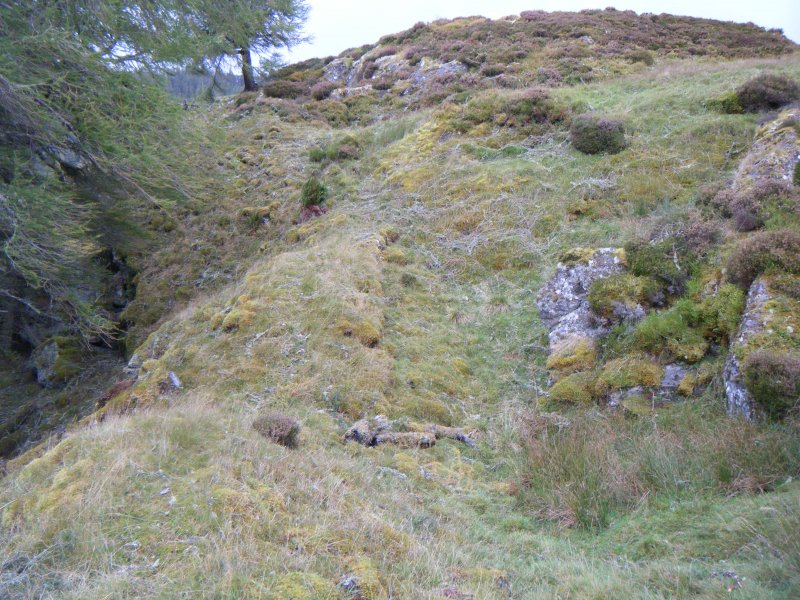 View along south rampart and possible entrance, photograph of Dun da Lamh, from a topographic archaeological survey at five Pictish Forts in the Highlands