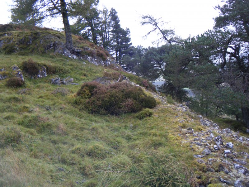 View along middle part of south rampart, photograph of Dun da Lamh, from a topographic archaeological survey at five Pictish Forts in the Highlands
