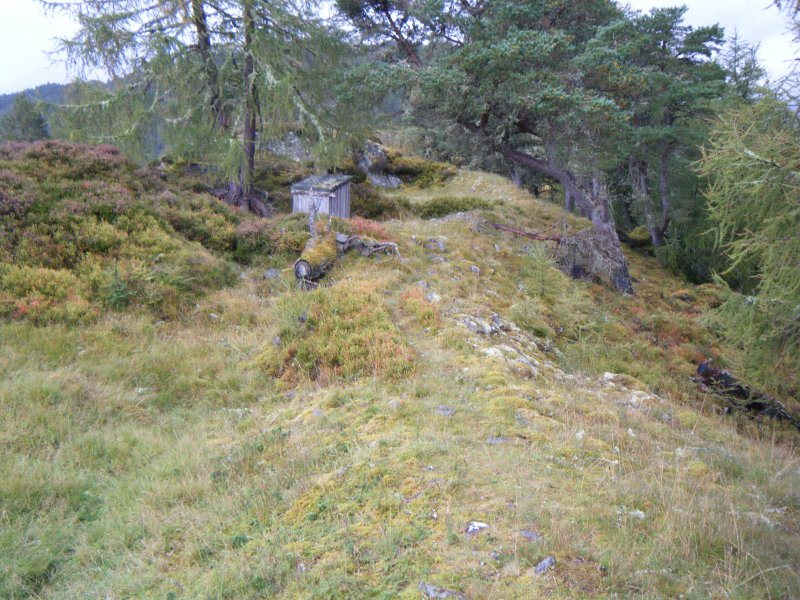 View along north rampart from north east corner of fort, photograph of Dun da Lamh, from a topographic archaeological survey at five Pictish Forts in the Highlands