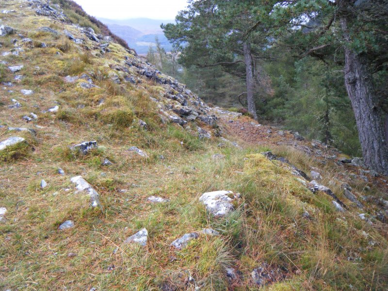 Modern path leading up to fort, photograph of Dun da Lamh, from a topographic archaeological survey at five Pictish Forts in the Highlands