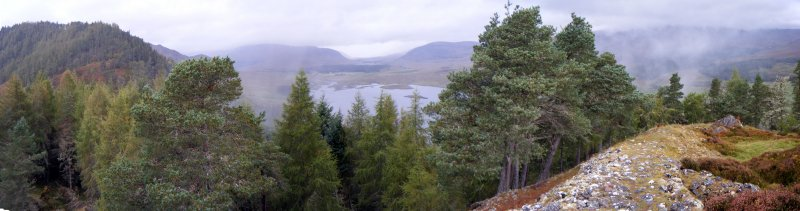 Panoramic view towards the River Spey from the west rampart, photograph of Dun da Lamh, from a topographic archaeological survey at five Pictish Forts in the Highlands