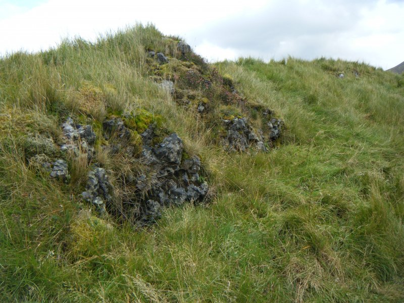 Two vitrified blocks along outside of south rampart of Dun Deardail, from a topographic archaeological survey at five Pictish Forts in the Highlands