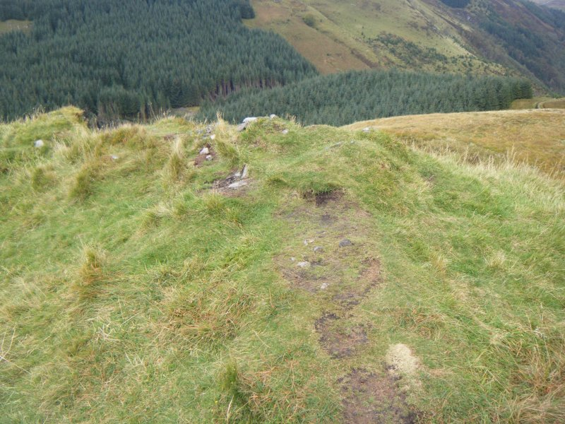 Patches of slight erosion in path along north rampart, photograph of Dun Deardail, from a topographic archaeological survey at five Pictish Forts in the Highlands