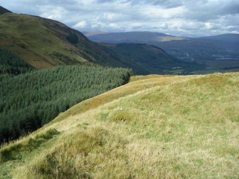 View along west rampart, photograph of Dun Deardail, from a topographic archaeological survey at five Pictish Forts in the Highlands