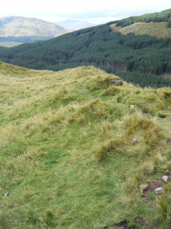 View along north rampart, photograph of Dun Deardail, from a topographic archaeological survey at five Pictish Forts in the Highlands