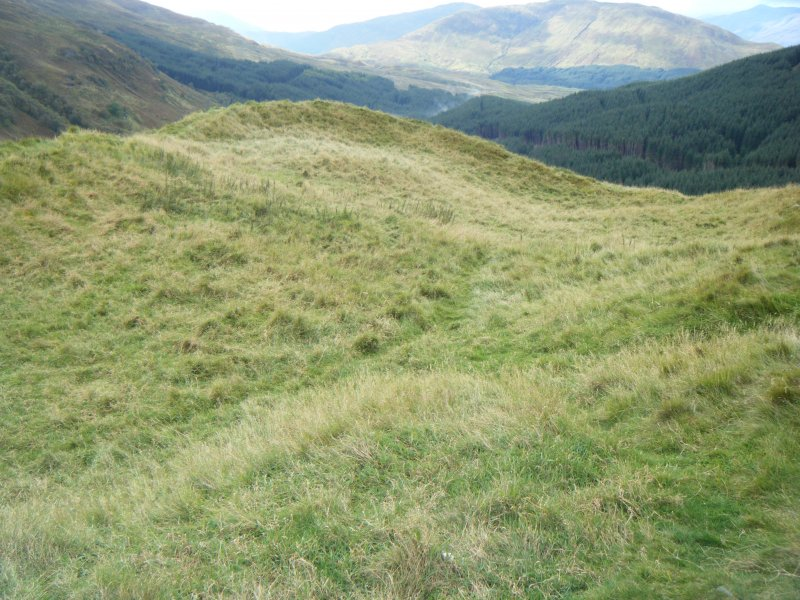 View of fort interior from the east, photograph of Dun Derdrail, from a topographic archaeological survey at five Pictish Forts in the Highlands