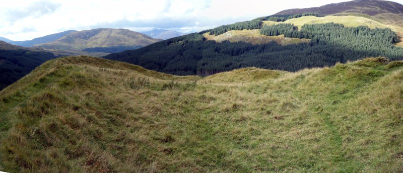 Panoramic view of fort interior from the north east, photograph of Dun Deardail, from a topographic archaeological survey at five Pictish Forts in the Highlands