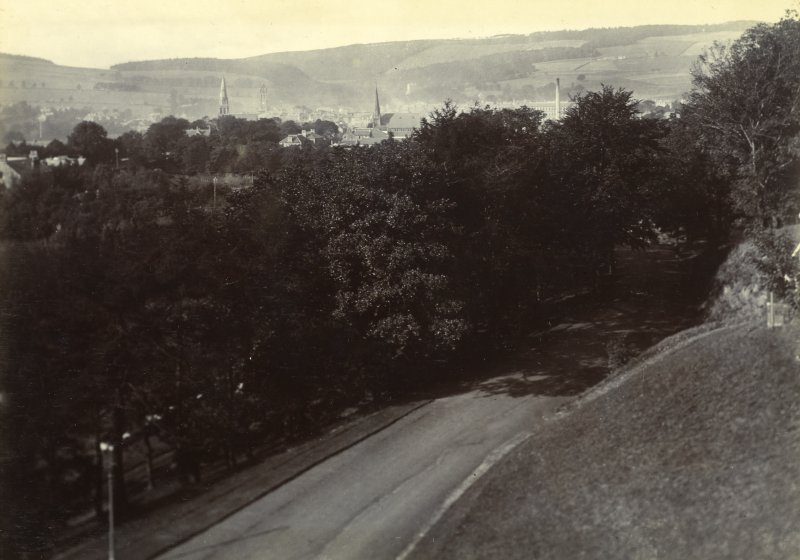 Distant view of Peebles from the Hydro