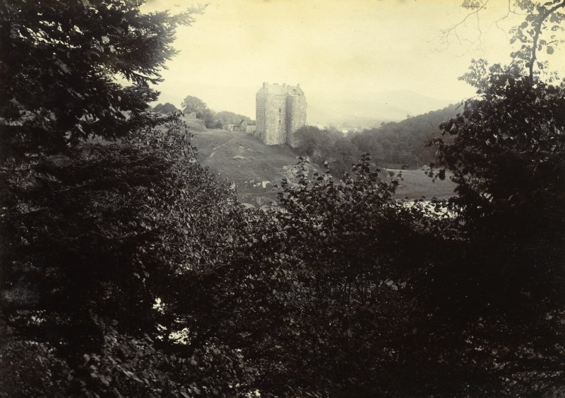 Distant view of Neidpath Castle from W