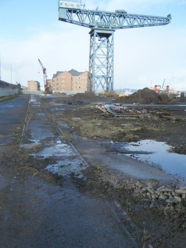 View of listed cantilever crane, during archaeological monitoring at James Warr Dock, Greenock