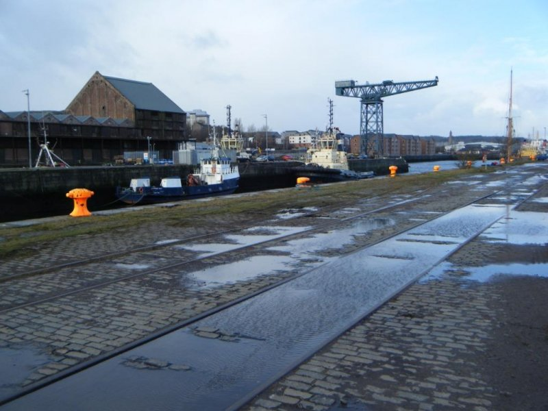 View of the central quay, during archaeological monitoring at James Warr Dock, Greenock