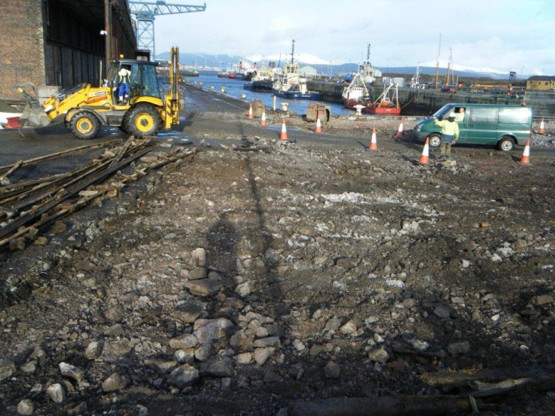 View of area cleared of cobbles (facing E), during archaeological monitoring at James Warr Dock, Greenock
