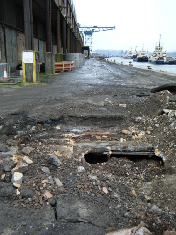 Detail of the service culvert, during archaeological monitoring at James Warr Dock, Greenock