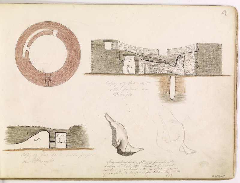 Drawing showing plan and section through Hillock of Burroughston broch, Shapinsay and fragment of a skull found at Broch of Lingro.