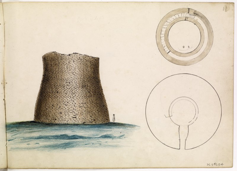 Watercolour drawing showing perspective view of Broch of Mousa.