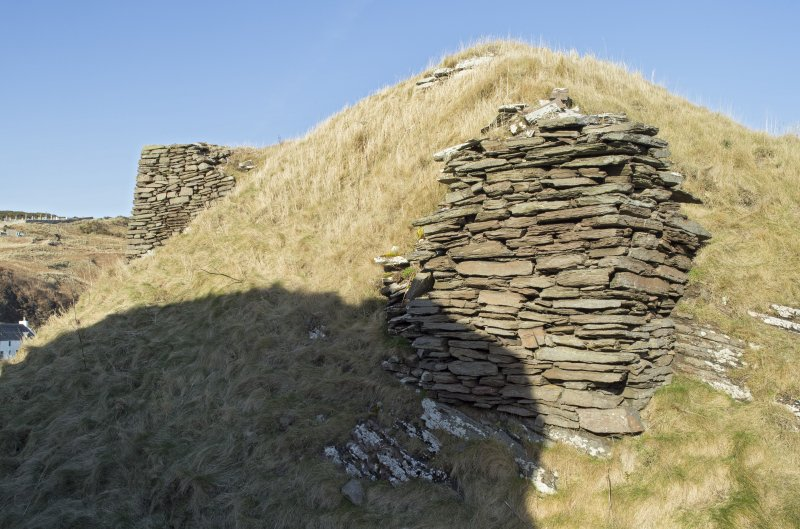Section of walling at south west end of castle, view from south