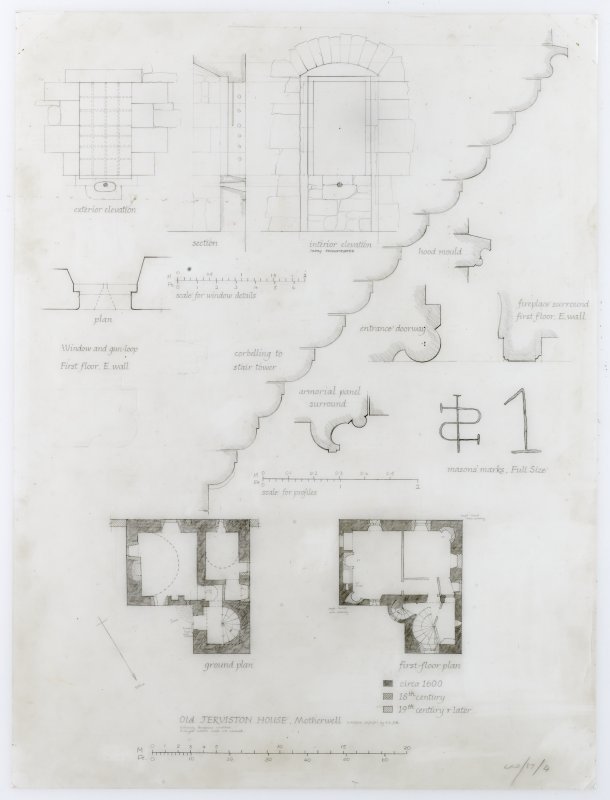 Ground and first floor plans (1:100) and masons' marks (full size) and details (1:50).