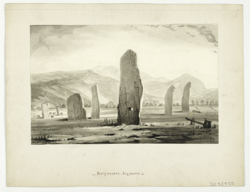 Drawing of Ballymeanoch standing stones.