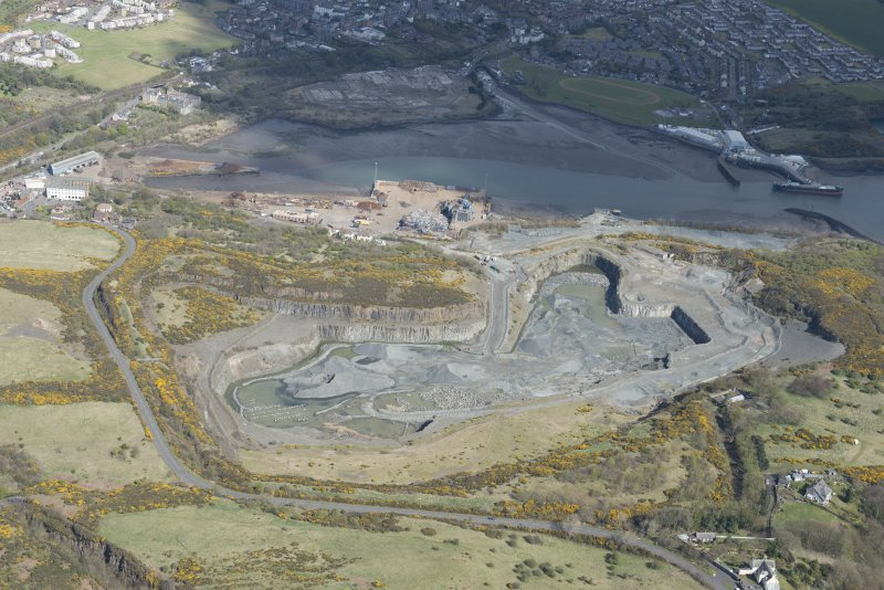 Oblique aerial view of Cruiks Quarry, looking NNE.