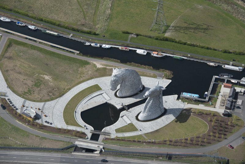 Oblique aerial view of The Kelpies, looking SW.
