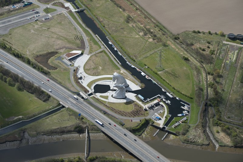 Oblique aerial view of The Kelpies, looking SSE.
