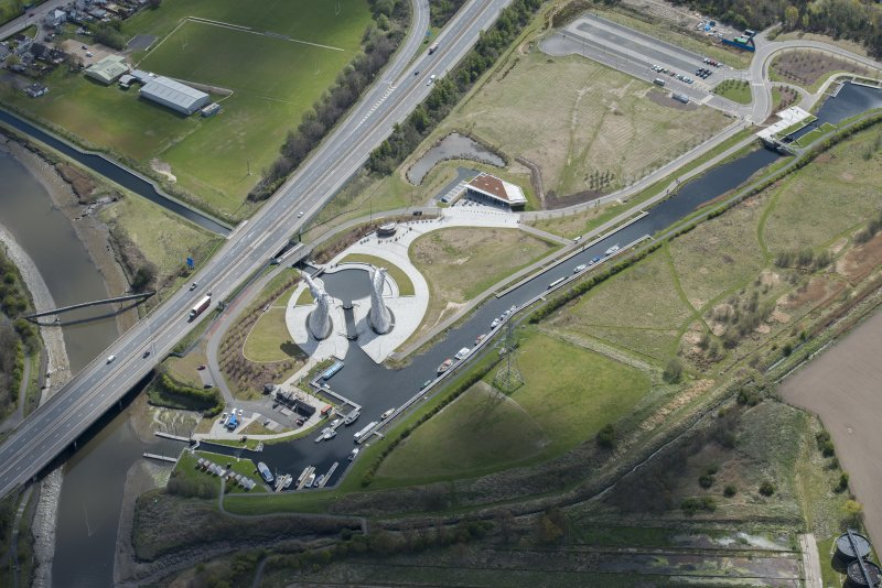 Oblique aerial view of The Kelpies, looking ESE.