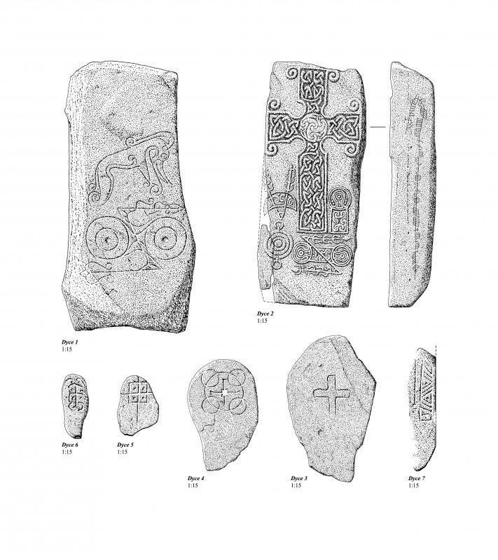 The collection of early medieval sculptured stone from Dyce churchyard. 300 dpi copy of EPS file.