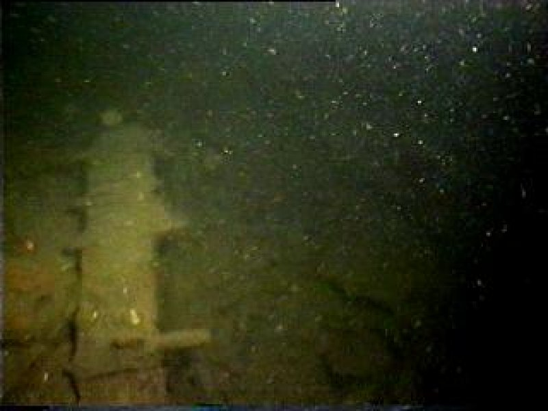 Diver photograph of Beagle steamship bow