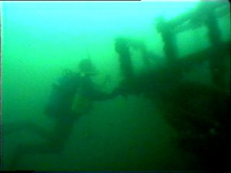 Diver photograph of top of stern of HMS Breda