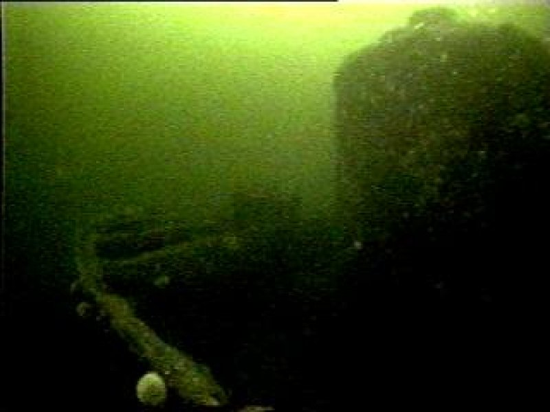 Diver photograph of boiler on Margeret Niven steamship