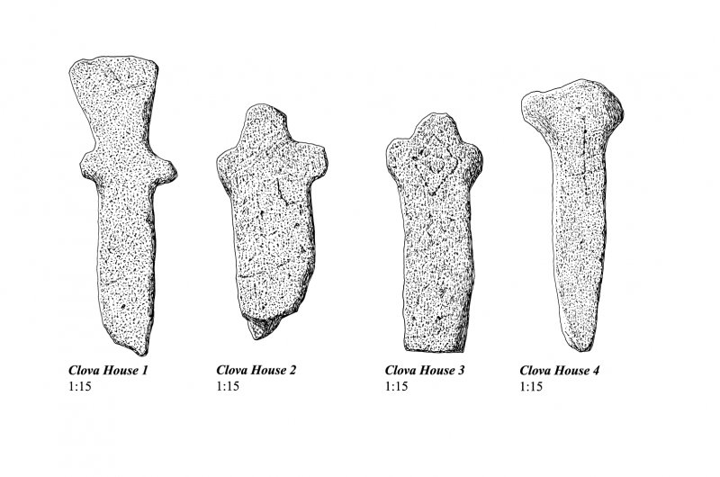 Clova House, four cross-shaped stones from St Luke's Chapel. 300dpi tiff of EPS file.