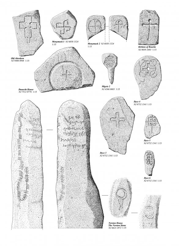 Comparative drawings of cross-marked stones from Donside, and the inscribed Newton Stone. Ink drawing