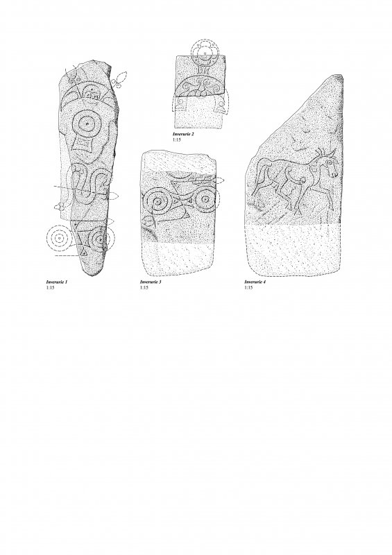 Drawing of carved stones, Inverurie.