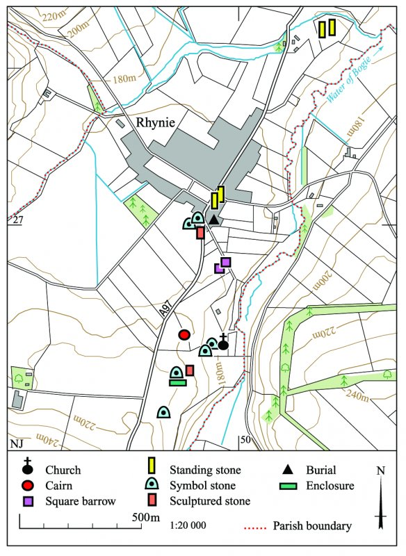 This map shows the location of sites and monuments around the village of Rhynie.