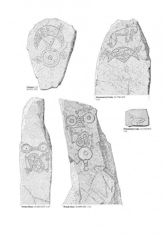 Class 1 Pictish symbol stones, ink drawing