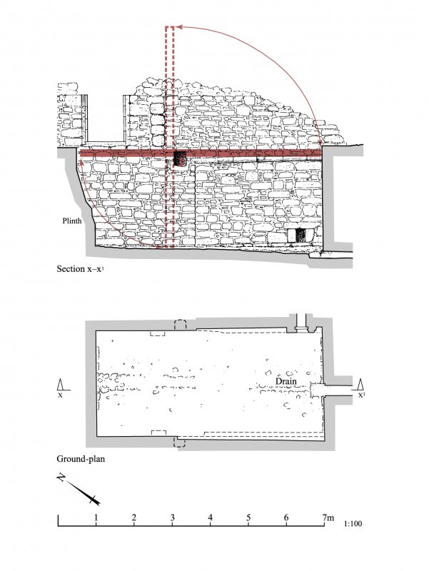 Kildrummy Castle, plan and section of the drawbridge pit.