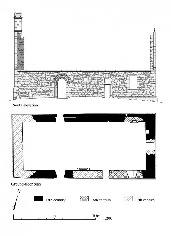 Auchindoir, plan and south elevation of the old parish church.