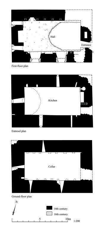 Hallforest, floor plans of the keep.