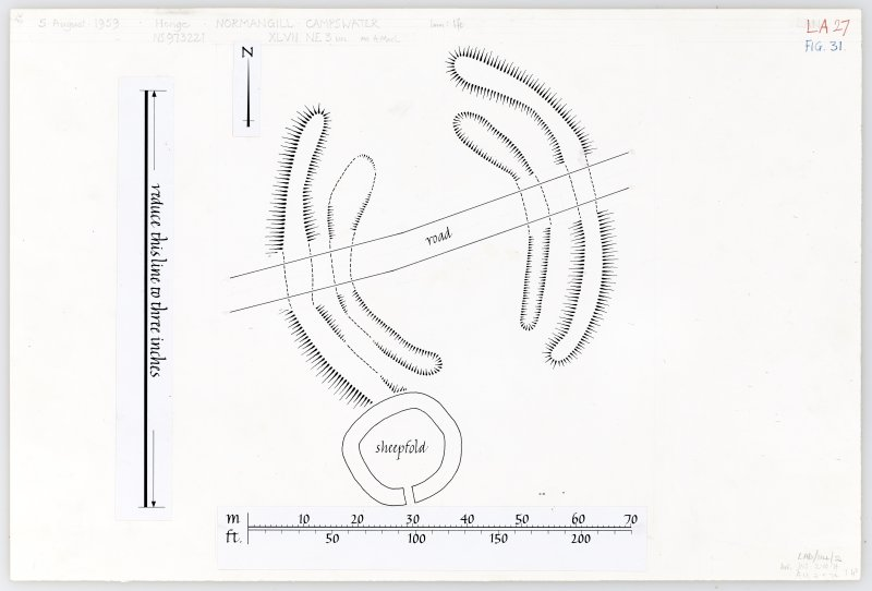 Publication plan of Normangill henge, based on 1959 survey. Also copy negative D15306